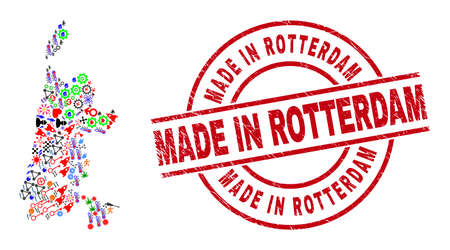 North Holland map mosaic and rubber Made in Rotterdam red round stamp imitation. Made in Rotterdam stamp uses vector lines and arcs. North Holland map mosaic contains helmets, houses, wrenches, suns,