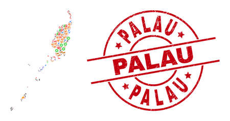 Palau map collage and scratched Palau red round stamp print. Palau seal uses vector lines and arcs. Palau map collage contains helmets, houses, showers, bugs, stars, and more pictograms. Vetores