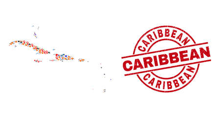 Caribbean Islands map collage and grunge Caribbean red circle watermark. Caribbean badge uses vector lines and arcs. Caribbean Islands map collage includes markers, houses, screwdrivers, suns, men, Illustration