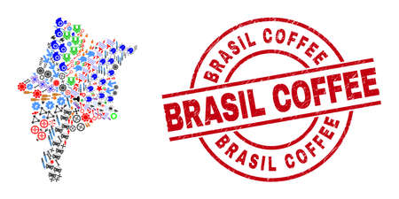 Maranhao State map mosaic and grunge Brasil Coffee red circle stamp imitation. Brasil Coffee stamp uses vector lines and arcs. Maranhao State map mosaic contains helmets, homes, wrenches, bugs,