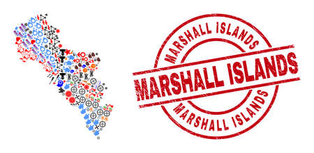 Andros Island of Greece map mosaic and unclean Marshall Islands red round stamp print. Marshall Islands stamp uses vector lines and arcs. Andros Island of Greece map mosaic includes gears, houses,