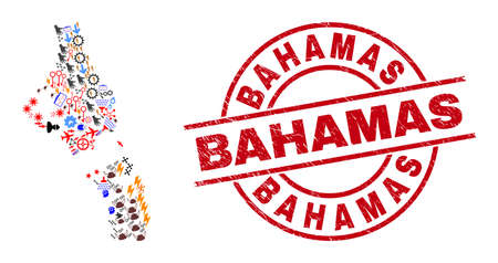 Andros Island of Bahamas map collage and scratched Bahamas red round seal. Bahamas badge uses vector lines and arcs. Andros Island of Bahamas map collage contains gears, houses, screwdrivers, bugs, Illustration
