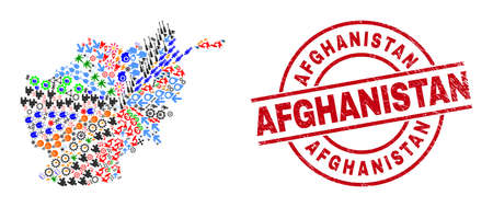 Afghanistan map collage and distress Afghanistan red round badge. Afghanistan badge uses vector lines and arcs. Afghanistan map collage contains gears, homes, screwdrivers, suns, men, Illustration