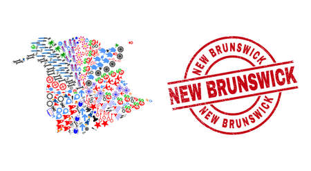New Brunswick Province map collage and scratched New Brunswick red round watermark. New Brunswick seal uses vector lines and arcs. New Brunswick Province map collage includes helmets, houses,