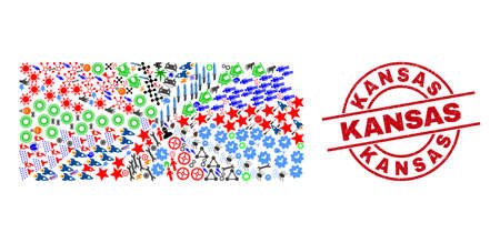 Kansas State map collage and Kansas red round seal. Kansas seal uses vector lines and arcs. Kansas State map collage includes gears, houses, showers, bugs, men, and more symbols. Illustration
