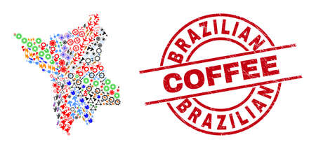 Roraima State map collage and Brazilian Coffee red round badge. Brazilian Coffee badge uses vector lines and arcs. Roraima State map collage contains helmets, homes, screwdrivers, suns, wine glasses,