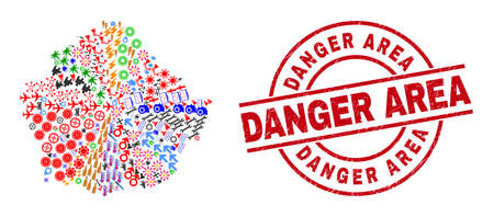 Cuenca Province map collage and unclean Danger Area red round badge. Danger Area badge uses vector lines and arcs. Cuenca Province map collage contains markers, houses, showers, suns, stars,