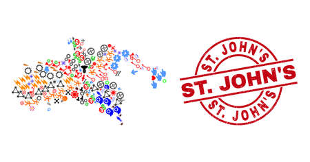 Saint John Island map mosaic and scratched St. JohnS red circle badge. St. JohnS badge uses vector lines and arcs. Saint John Island map collage contains helmets, houses, showers, bugs, hands,