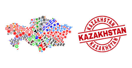 Kazakhstan map collage and grunge Kazakhstan red circle stamp seal. Kazakhstan badge uses vector lines and arcs. Kazakhstan map collage contains helmets, homes, showers, bugs, hands, and more symbols.