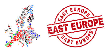 Euro Union map mosaic and rubber East Europe red round stamp. East Europe stamp uses vector lines and arcs. Euro Union map mosaic includes markers, houses, lamps, bugs, people, and more pictograms. Illustration