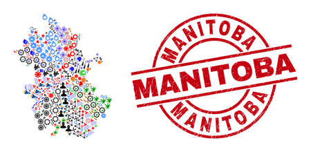 Anhui Province map collage and distress Manitoba red circle stamp imitation. Manitoba stamp uses vector lines and arcs. Anhui Province map collage contains gears, houses, screwdrivers, suns, stars,