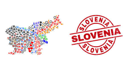Slovenia map collage and grunge Slovenia red round stamp. Slovenia stamp uses vector lines and arcs. Slovenia map collage includes markers, houses, screwdrivers, suns, wine glasses, and more icons.