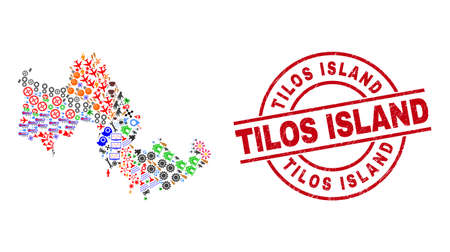 Tilos Island map collage and grunge Tilos Island red round stamp print. Tilos Island badge uses vector lines and arcs. Tilos Island map collage includes helmets, homes, wrenches, suns, men,