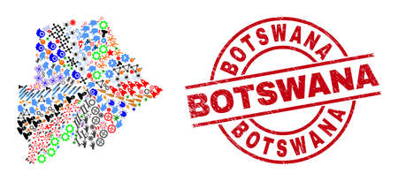 Botswana map mosaic and unclean Botswana red circle badge. Botswana badge uses vector lines and arcs. Botswana map mosaic contains gears, homes, screwdrivers, bugs, stars, and more symbols.