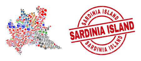 Lombardy region map collage and dirty Sardinia Island red circle stamp seal. Sardinia Island seal uses vector lines and arcs. Lombardy region map collage contains markers, houses, lamps, suns, people,