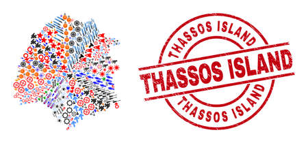 Thassos Island map collage and grunge Thassos Island red round stamp. Thassos Island stamp uses vector lines and arcs. Thassos Island map collage includes helmets, houses, wrenches, suns, hands,