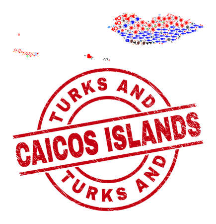 Socotra Archipelago map collage and distress Turks and Caicos Islands red round stamp imitation. Turks and Caicos Islands stamp uses vector lines and arcs.
