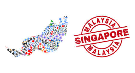 Sarawak State map collage and dirty Malaysia Singapore red round stamp. Malaysia Singapore badge uses vector lines and arcs. Sarawak State map collage contains markers, homes, showers, suns, stars,