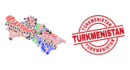 Turkmenistan map collage and distress Turkmenistan red round stamp seal. Turkmenistan seal uses vector lines and arcs. Turkmenistan map collage contains markers, houses, showers, suns, wine glasses, Vecteurs