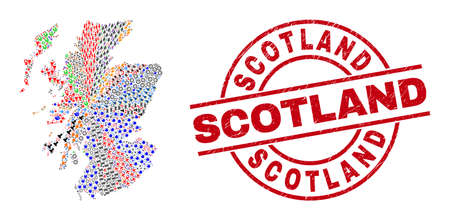 Scotland map mosaic and textured Scotland red round stamp seal. Scotland seal uses vector lines and arcs. Scotland map collage contains gears, houses, screwdrivers, suns, stars, and more icons. Vetores