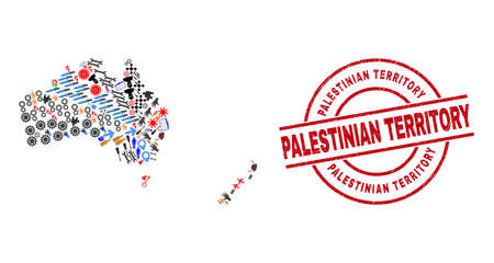 Australia and New Zealand map collage and unclean Palestinian Territory red round stamp print. Palestinian Territory stamp uses vector lines and arcs.