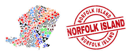 Lombok Island map collage and scratched Norfolk Island red circle seal. Norfolk Island stamp uses vector lines and arcs. Lombok Island map collage includes gears, houses, showers, suns, wine glasses,