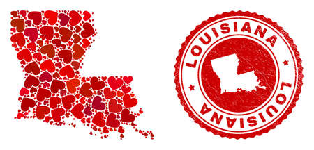 Mosaic Louisiana State map composed with red love hearts, and unclean seal stamp. Vector lovely round red rubber stamp imitation with Louisiana State map inside. Illustration