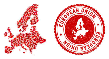 Mosaic European Union map created with red love hearts, and rubber stamp. Vector lovely round red rubber seal stamp imprint with European Union map inside.