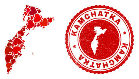 Mosaic Kamchatka map formed with red love hearts, and rubber seal. Vector lovely round red rubber seal imprint with Kamchatka map inside.