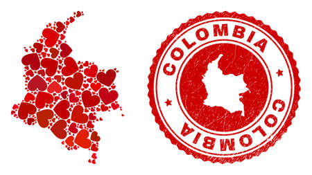 Collage Colombia map formed with red love hearts, and unclean seal stamp. Vector lovely round red rubber stamp imprint with Colombia map inside. Vektoros illusztráció