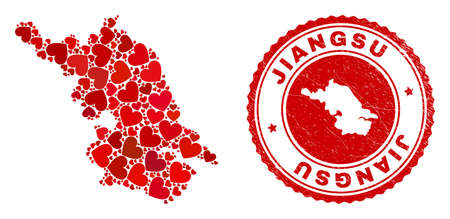Mosaic Jiangsu Province map designed from red love hearts, and grunge seal stamp. Vector lovely round red rubber seal stamp imitation with Jiangsu Province map inside.