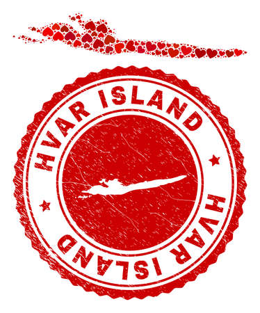 Mosaic Hvar Island map designed with red love hearts, and corroded seal stamp. Vector lovely round red rubber seal stamp imprint with Hvar Island map inside. Vector Illustratie