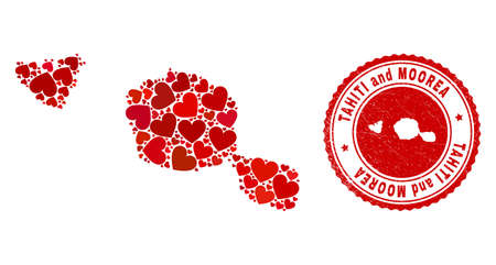 Collage Tahiti and Moorea islands map created with red love hearts, and corroded seal. Vector lovely round red rubber seal imprint with Tahiti and Moorea islands map inside.
