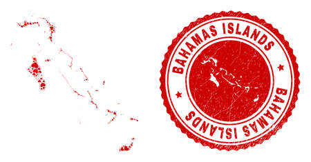 Collage Bahamas Islands map designed from red love hearts, and rubber seal stamp. Vector lovely round red rubber seal imprint with Bahamas Islands map inside.