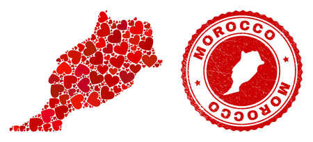 Collage Morocco map composed with red love hearts, and textured seal stamp. Vector lovely round red rubber seal stamp imprint with Morocco map inside.