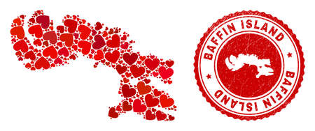 Mosaic Baffin Island map composed with red love hearts, and grunge stamp. Vector lovely round red rubber seal stamp imitation with Baffin Island map inside.