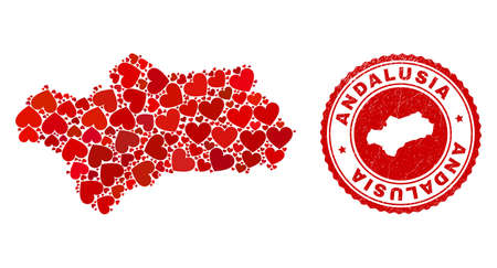 Mosaic Andalusia Province map formed with red love hearts, and grunge seal stamp. Vector lovely round red rubber badge imitation with Andalusia Province map inside. Vektoros illusztráció