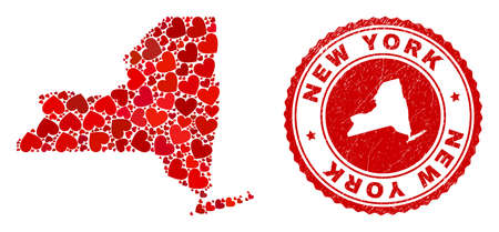 Collage New York State map created with red love hearts, and dirty seal. Vector lovely round red rubber seal stamp imitation with New York State map inside.