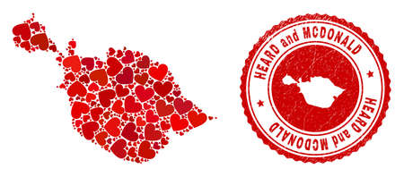 Collage Heard and McDonald Islands map composed with red love hearts, and rubber seal. Vector lovely round red rubber seal stamp imprint with Heard and McDonald Islands map inside.