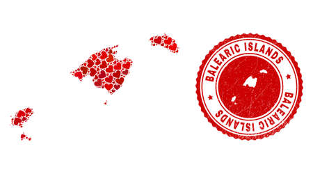 Collage Balearic Islands map designed with red love hearts, and rubber seal stamp. Vector lovely round red rubber seal imitation with Balearic Islands map inside. Vecteurs