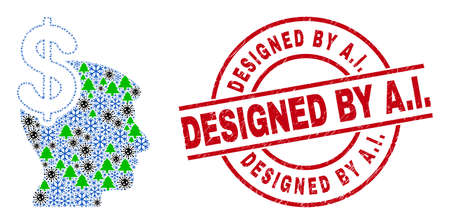 Winter viral collage business thinking, and unclean Designed by A.I. red round seal. Collage business thinking is made from virus, fir-tree, and frost icons. Red Designed by A.I.