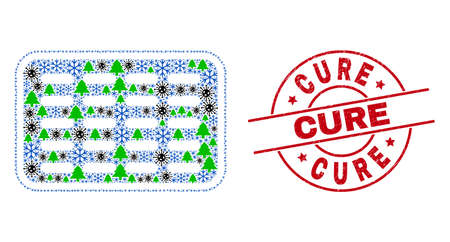 Winter virus collage pills blister, and scratched Cure red round stamp seal. Mosaic pills blister is designed from infection, fir-tree, and frost icons.