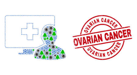 Winter virus collage online medical patient, and rubber Ovarian Cancer red round stamp seal. Mosaic online medical patient is composed from virus, fir-tree, and snowflake icons.