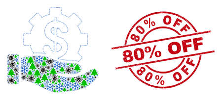 Winter bacteria collage bank service hand, and 80% Off red round stamp. Collage bank service hand is formed from viral, fir-tree, and frost symbols. Red 80% Off stamp seal uses circles and lines.