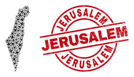Jerusalem grunged badge, and Israel map mosaic of air plane elements. Mosaic Israel map created with air planes. Red badge with Jerusalem caption, and grunge rubber texture.