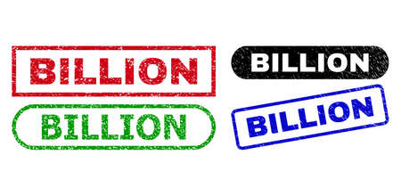 BILLION grunge seal stamps. Flat vector grunge seal stamps with BILLION text inside different rectangle and rounded frames, in blue, red, green, black color variants.