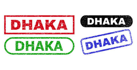 DHAKA grunge seal stamps. Flat vector distress seal stamps with DHAKA text inside different rectangle and rounded forms, in blue, red, green, black color versions. Imprints with corroded texture.