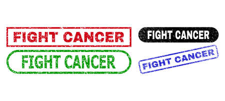 FIGHT CANCER grunge seal stamps. Flat vector textured seal stamps with FIGHT CANCER slogan inside different rectangle and rounded shapes, in blue, red, green, black color variants. 일러스트