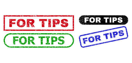 FOR TIPS grunge watermarks. Flat vector scratched watermarks with FOR TIPS caption inside different rectangle and rounded shapes, in blue, red, green, black color versions.