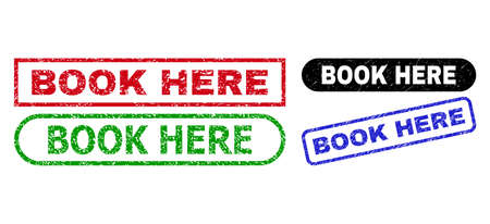 BOOK HERE grunge stamps. Flat vector grunge watermarks with BOOK HERE tag inside different rectangle and rounded shapes, in blue, red, green, black color versions. Watermarks with unclean texture.